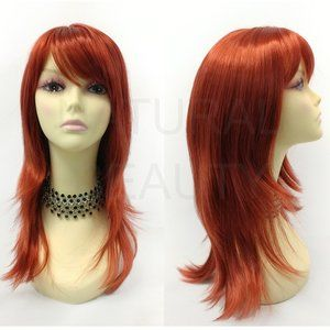 Red straight layered wig with bangs